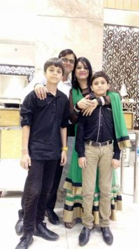 Ritika, with her Husband and two sons